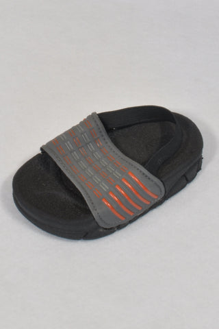 New Ackermans Charcoal Grey And Orange Wide Strap Sandals Boys 12-18 months