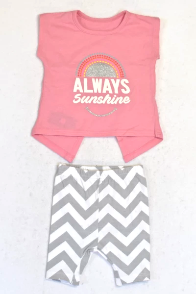 New Woolworths Rose Pink Always Sunshine Top & Grey Zig Zag Leggings Outfit Girls 0-3 months