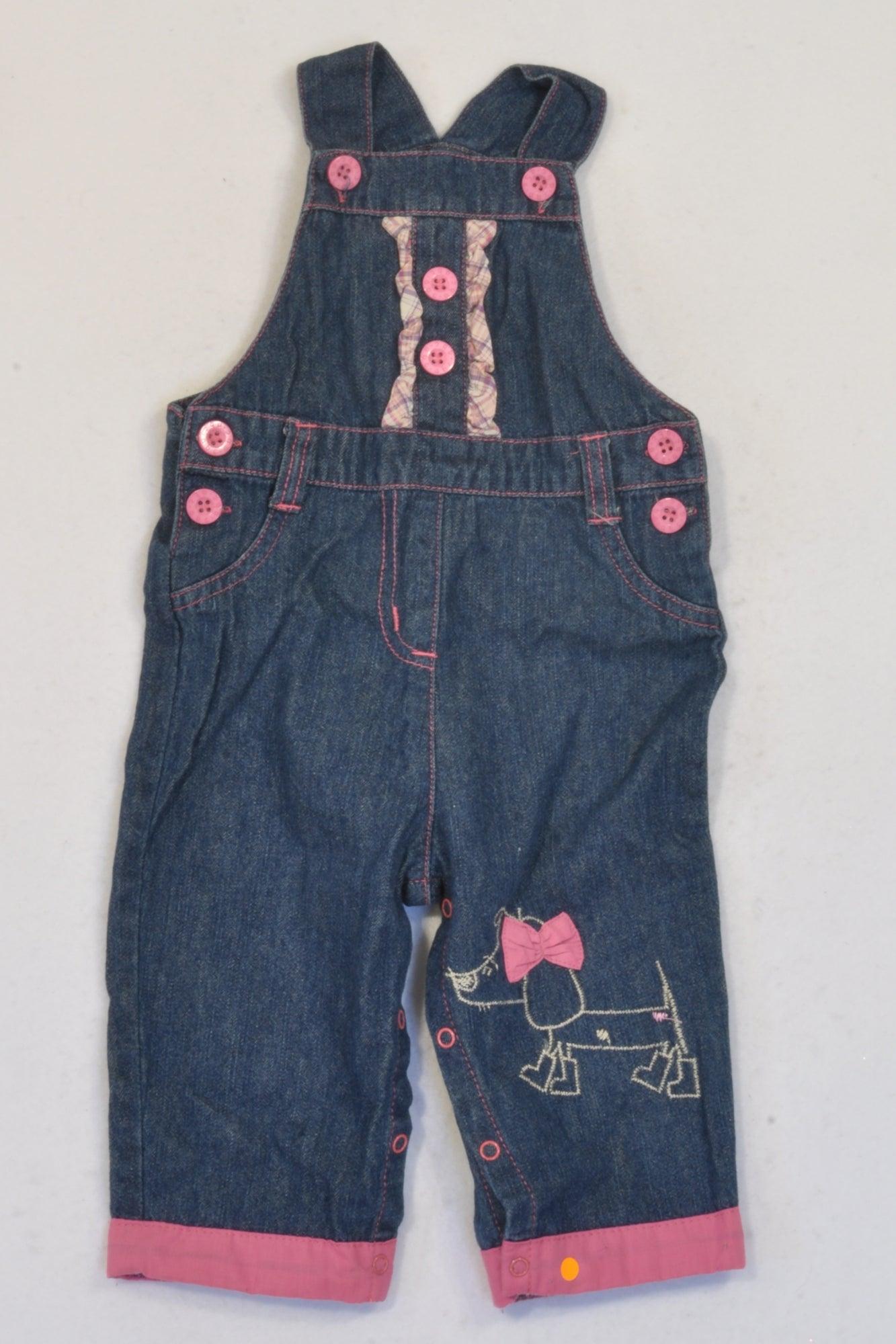 Ackermans  Pink Detailed Plaid Ruffle Dungarees Girls 6-12 months