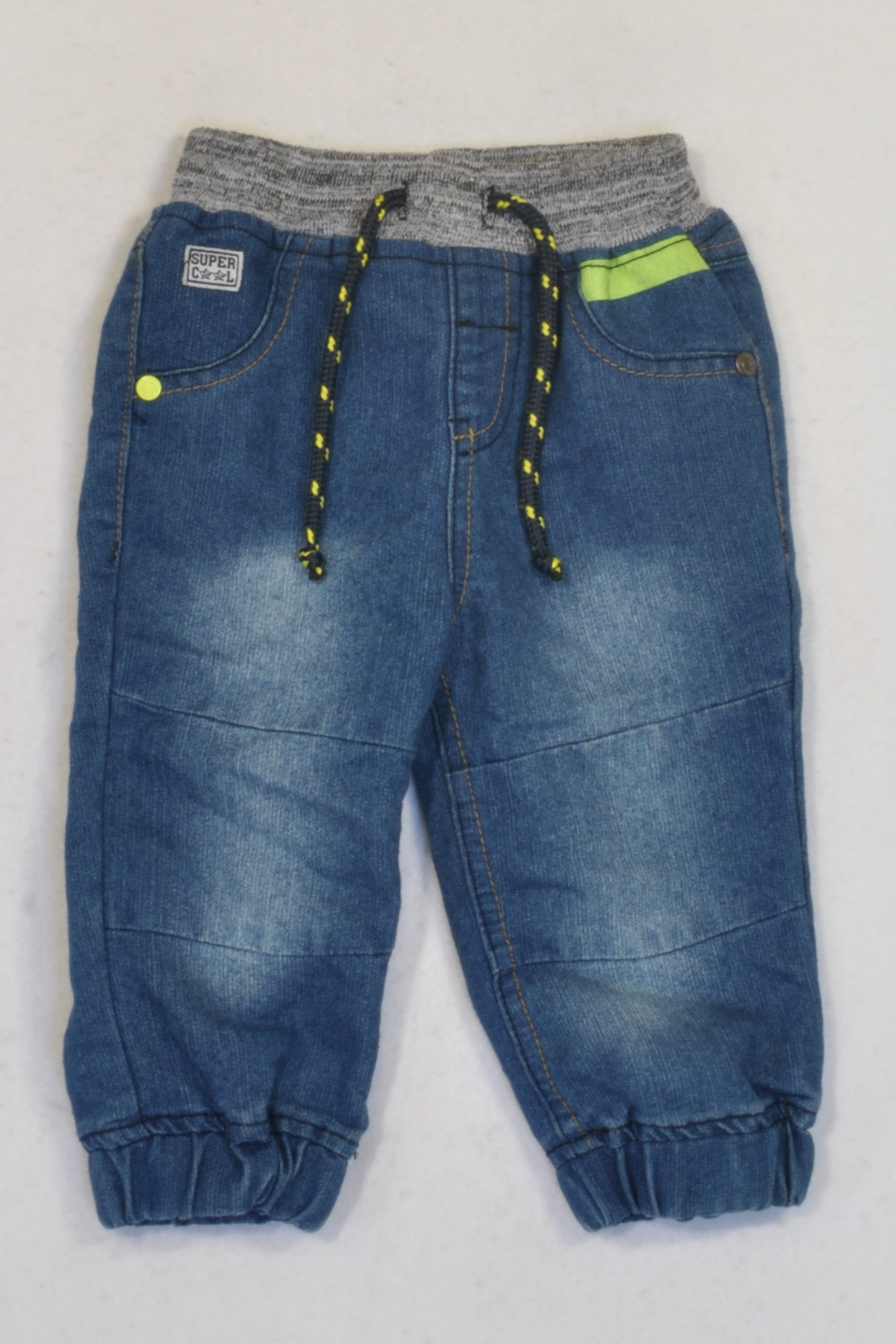 Ackermans Denim Grey Banded & Green Trim Jeans Boys 3-6 months