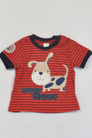 Ackermans  Red And Navy Striped Woof Woof T-shirt Boys 3-6 months