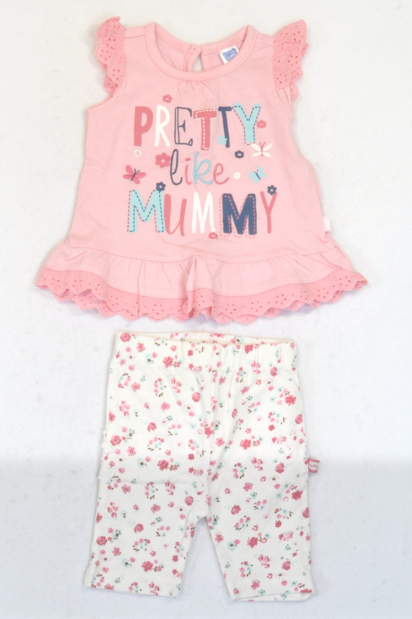 Ackermans Rose Pink Pretty Like Mummy Top & Cropped Floral Leggings Outfit Girls 0-3 months
