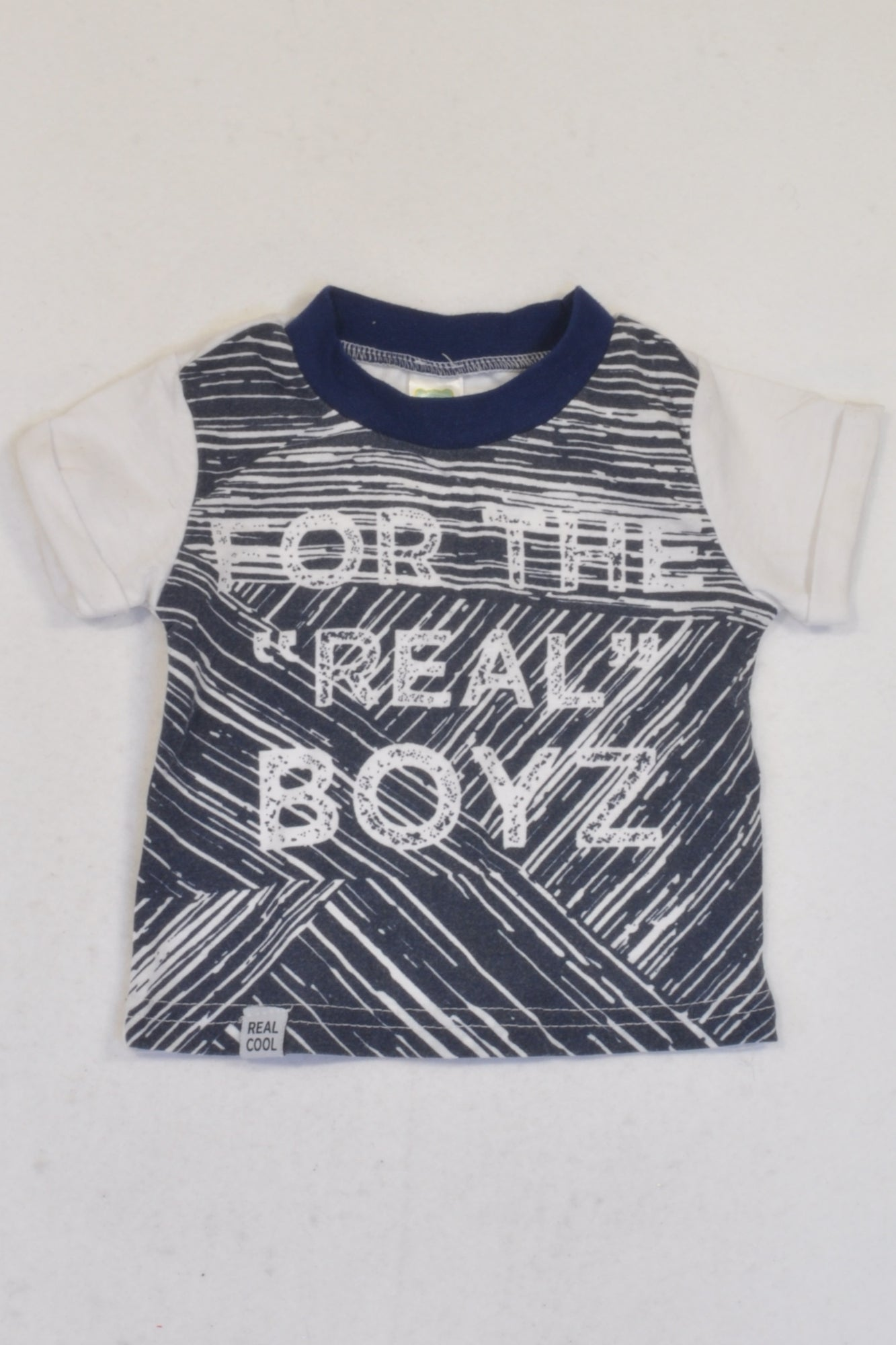 "Ackermans White & Blue For The ""Real"" Boyz T-shirt Boys 3-6 months"