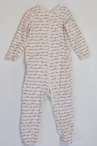 H&M White & Purple Heart Onesie Girls 18-24 months
