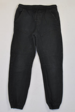 Unknown Brand Black Elasticated Cuff Pants Boys 7-8 years
