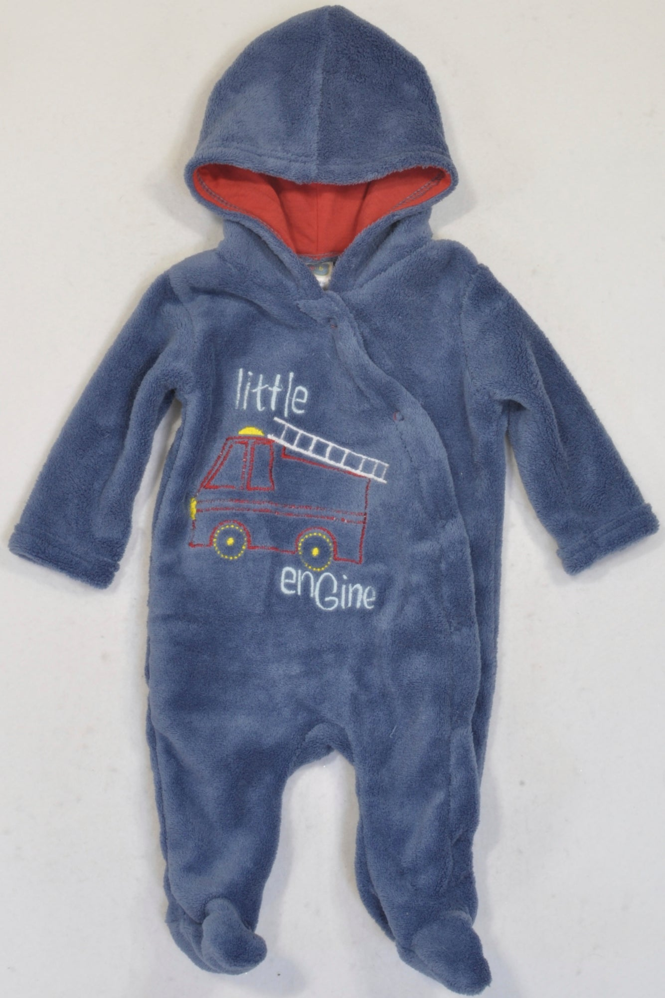 Ackermans Blue Fleece Little Engine Hooded Onesie Boys 0 3 Months
