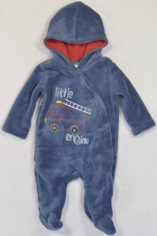 Ackermans  Blue Fleece Little Engine Hooded Onesie Boys 0-3 months