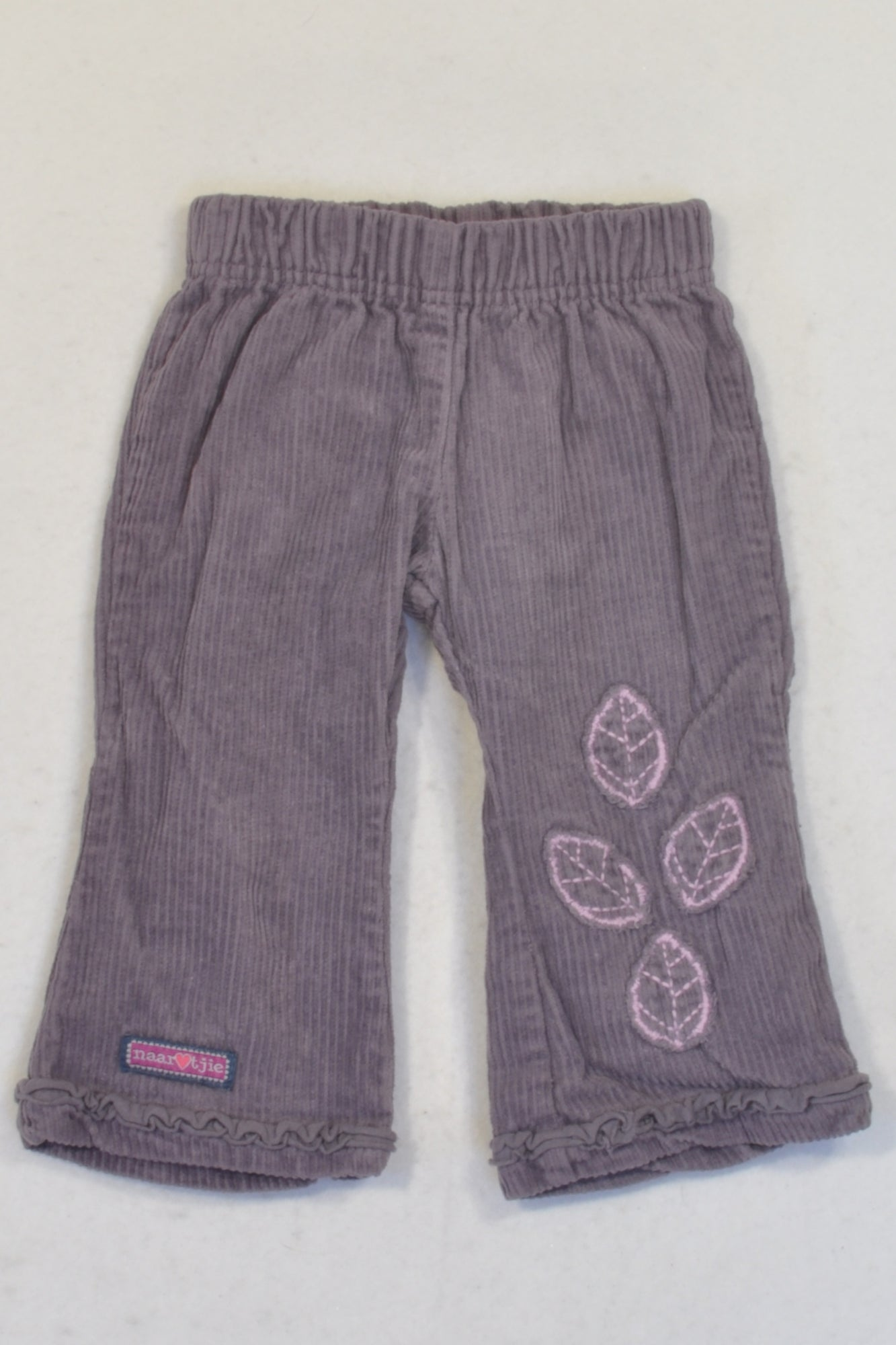 Naartjie Purple Corduroy Leaf Pants Girls 3-6 months