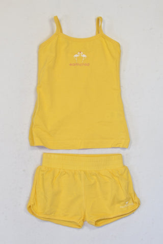 Earth Child Sunny Yellow Organic Cotton Strappy Tank & Play Shorts Outfit Girls 2-3 years