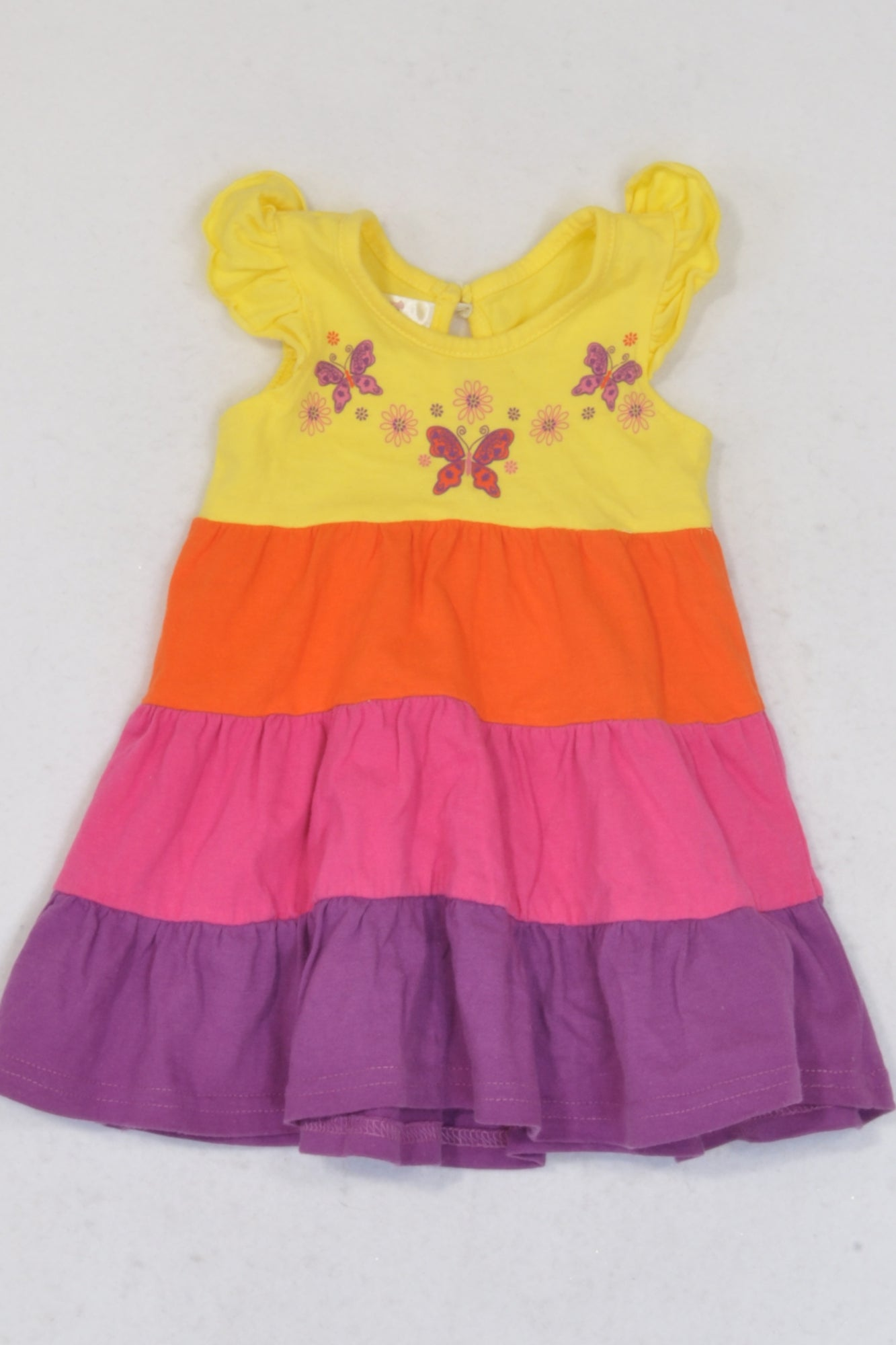 Edgars Colourful Tier Butterfly Dress Girls 0-3 months