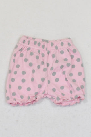 Woolworths  Light Pink & Grey Polka Dot Play Shorts Girls N-B