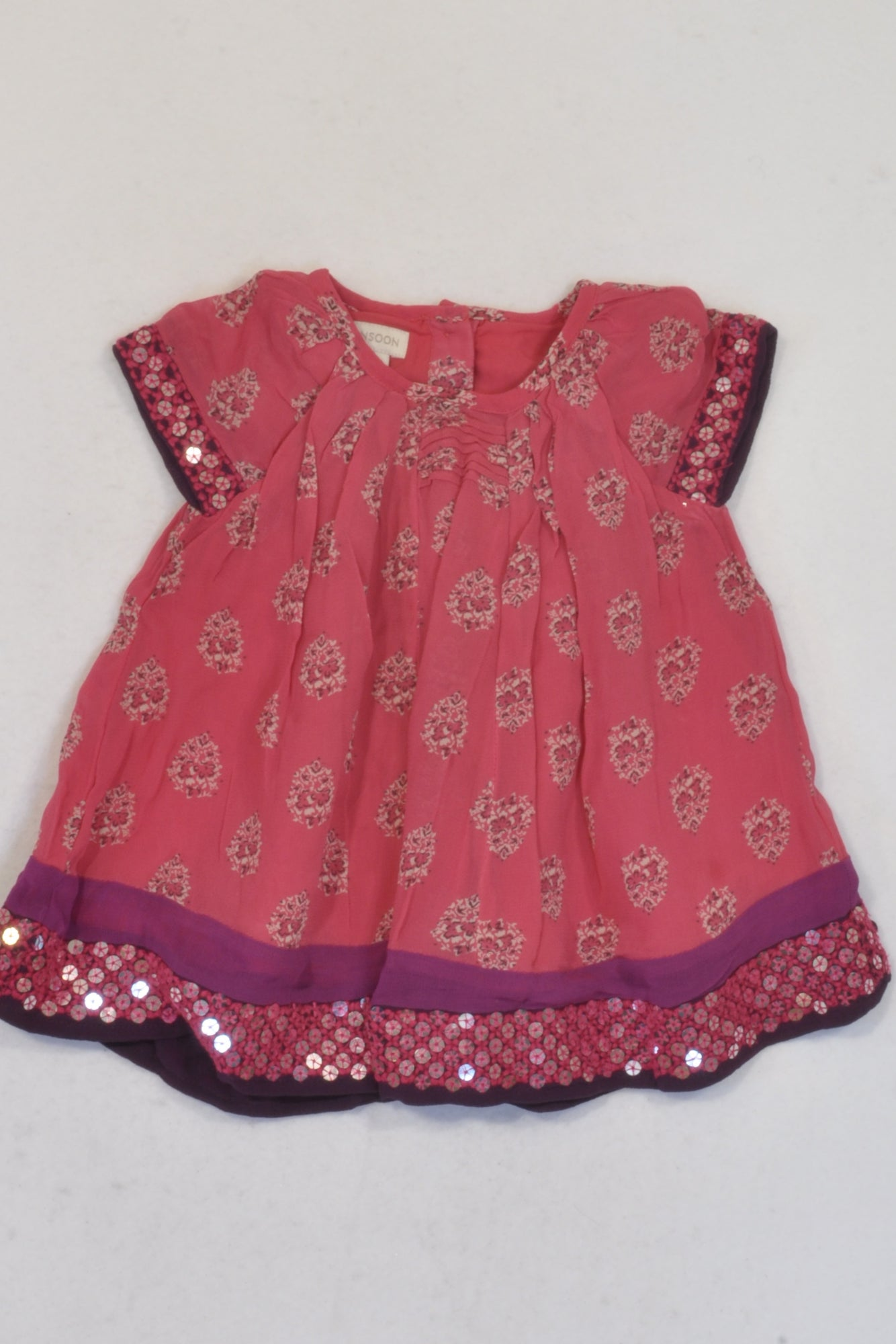 Monsoon Pink Floral Chiffon Dress Girls 0-3 months
