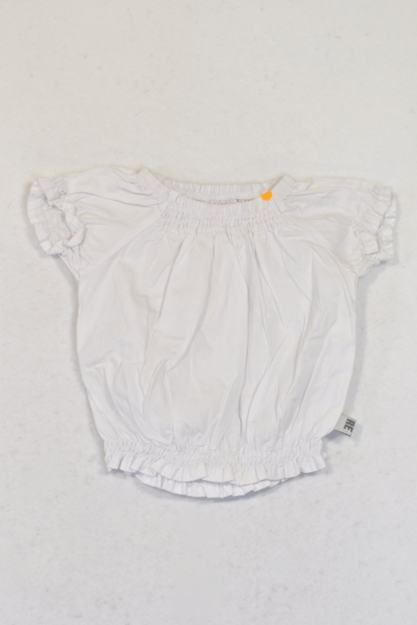 Woolworths White Gathered Bubble Top Girls 3-6 months