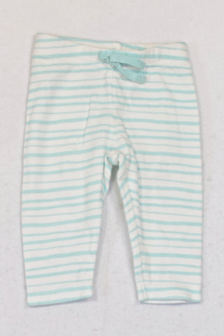 Gymboree Aqua Stripe Leggings Unisex 3-6 months