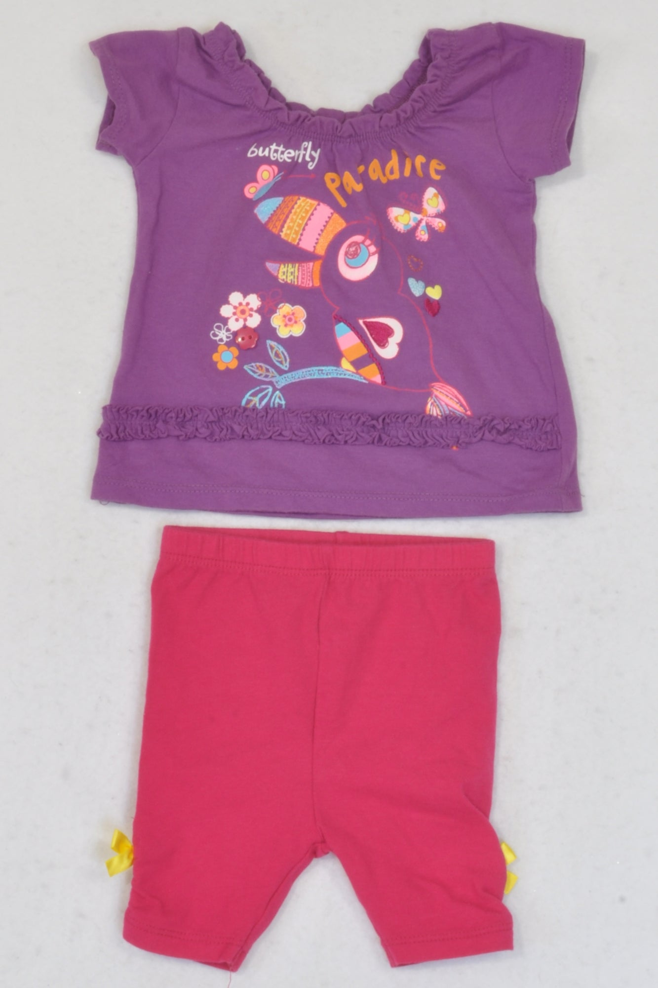 Woolworths Purple Butterfly Paradise Tank & Leggings Outfit Girls 0-3 months