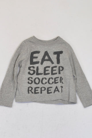 Pick 'n Pay Grey Eat Sleep Soccer Repeat T-shirt Boys 6-12 months