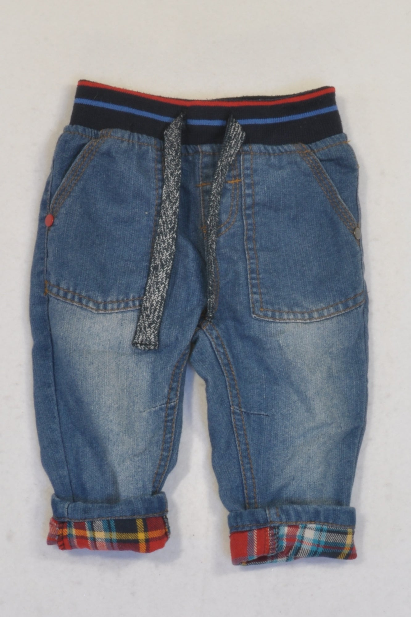 Ackermans Denim Banded & Red Tartan Trim Jeans Boys 3-6 months