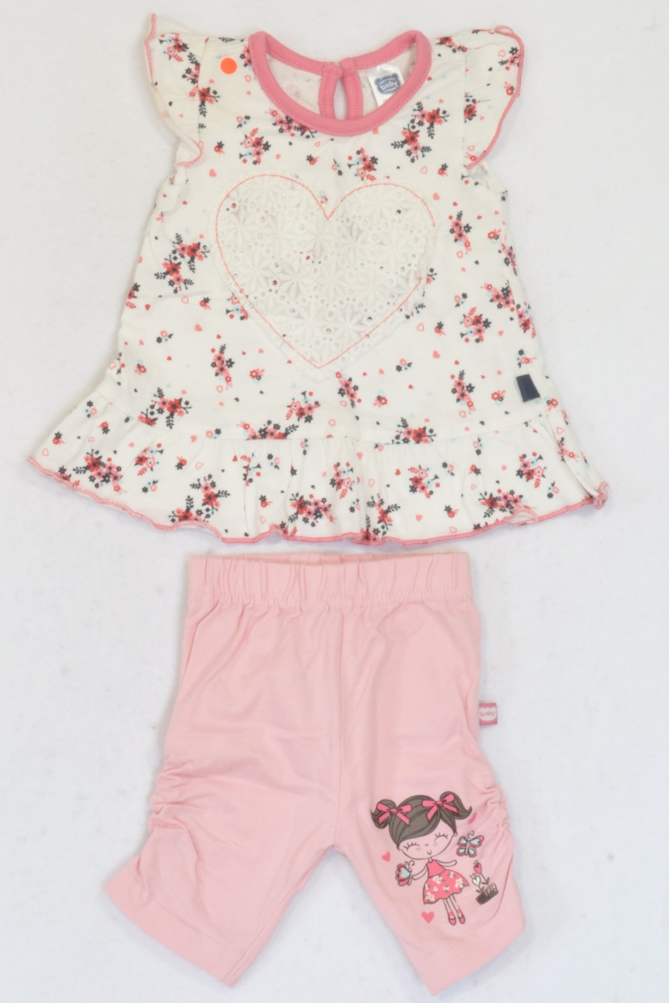 Ackermans Rose Pink Floral Heart Top & Ruched Leggings Outfit Girls 0-3 months