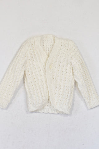 Handmade White Knit One Button Cardigan Girls 3-6 months