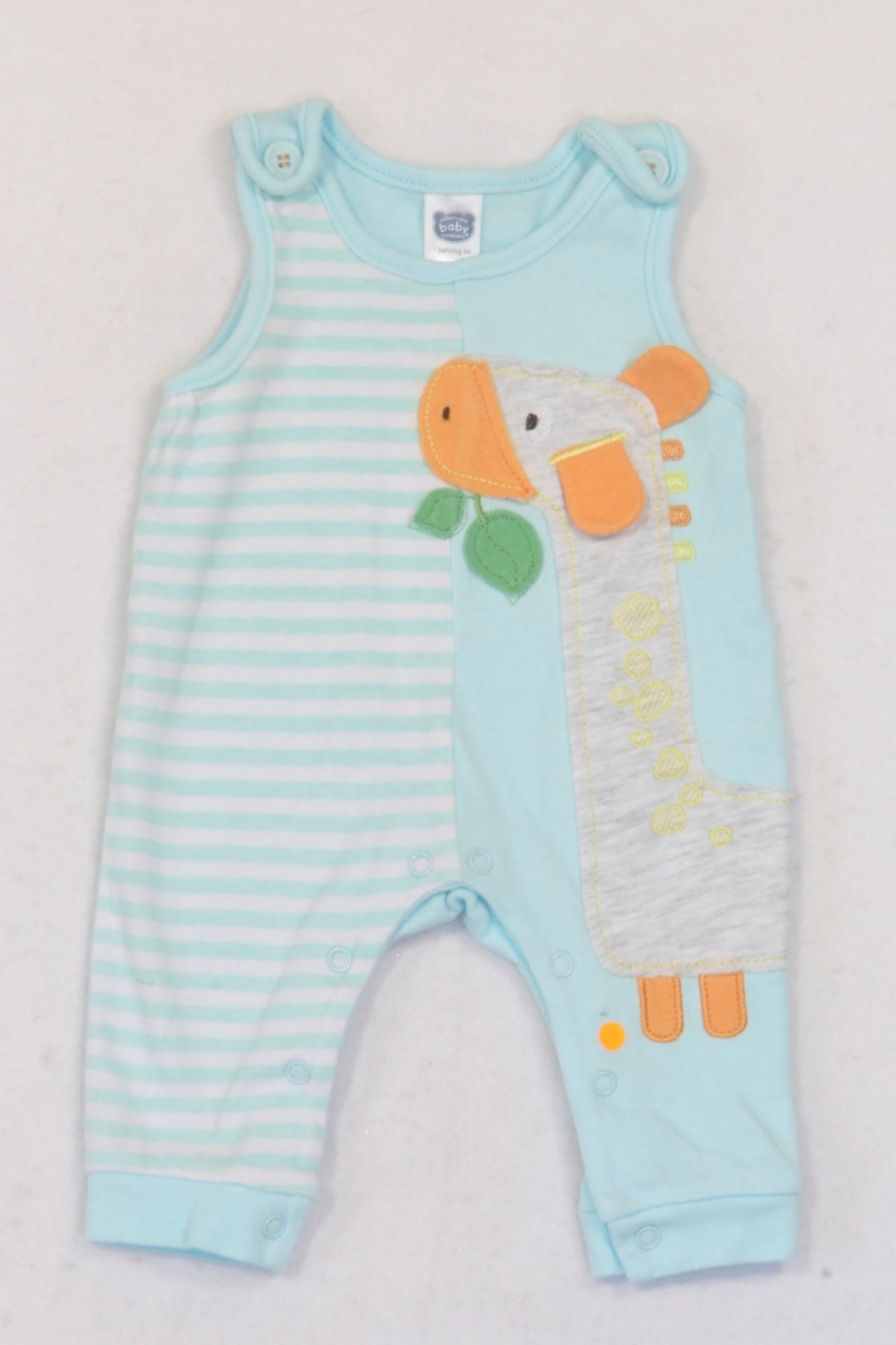 Ackermans  Light Blue Striped Giraffe Dungarees Unisex N-B