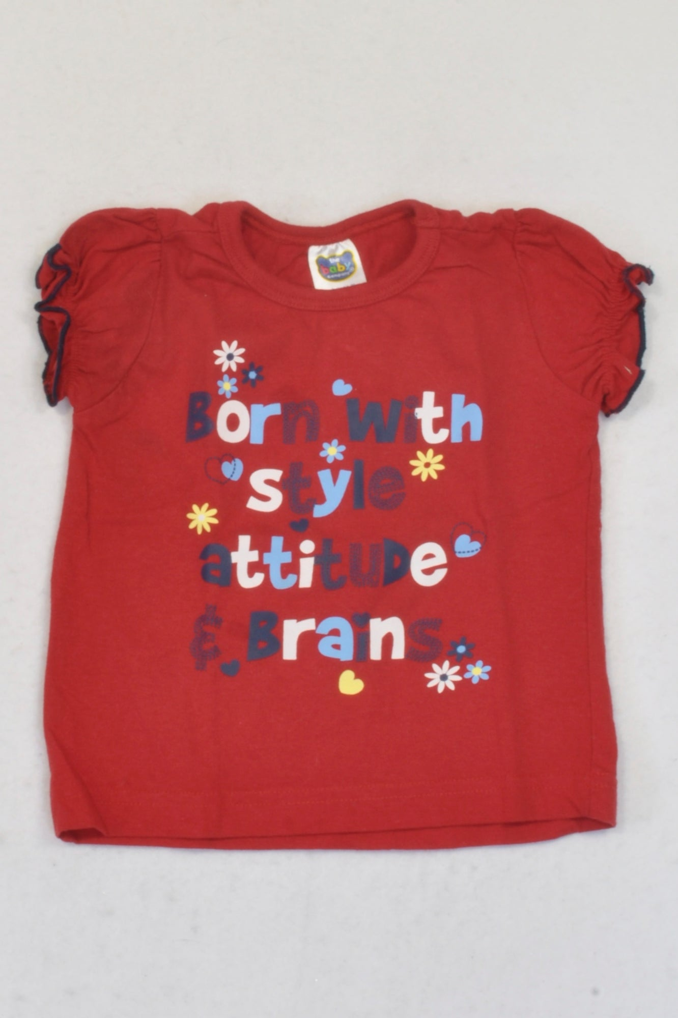 Ackermans  Red Born With Style Attitude And Brains T-shirt Girls 3-6 months