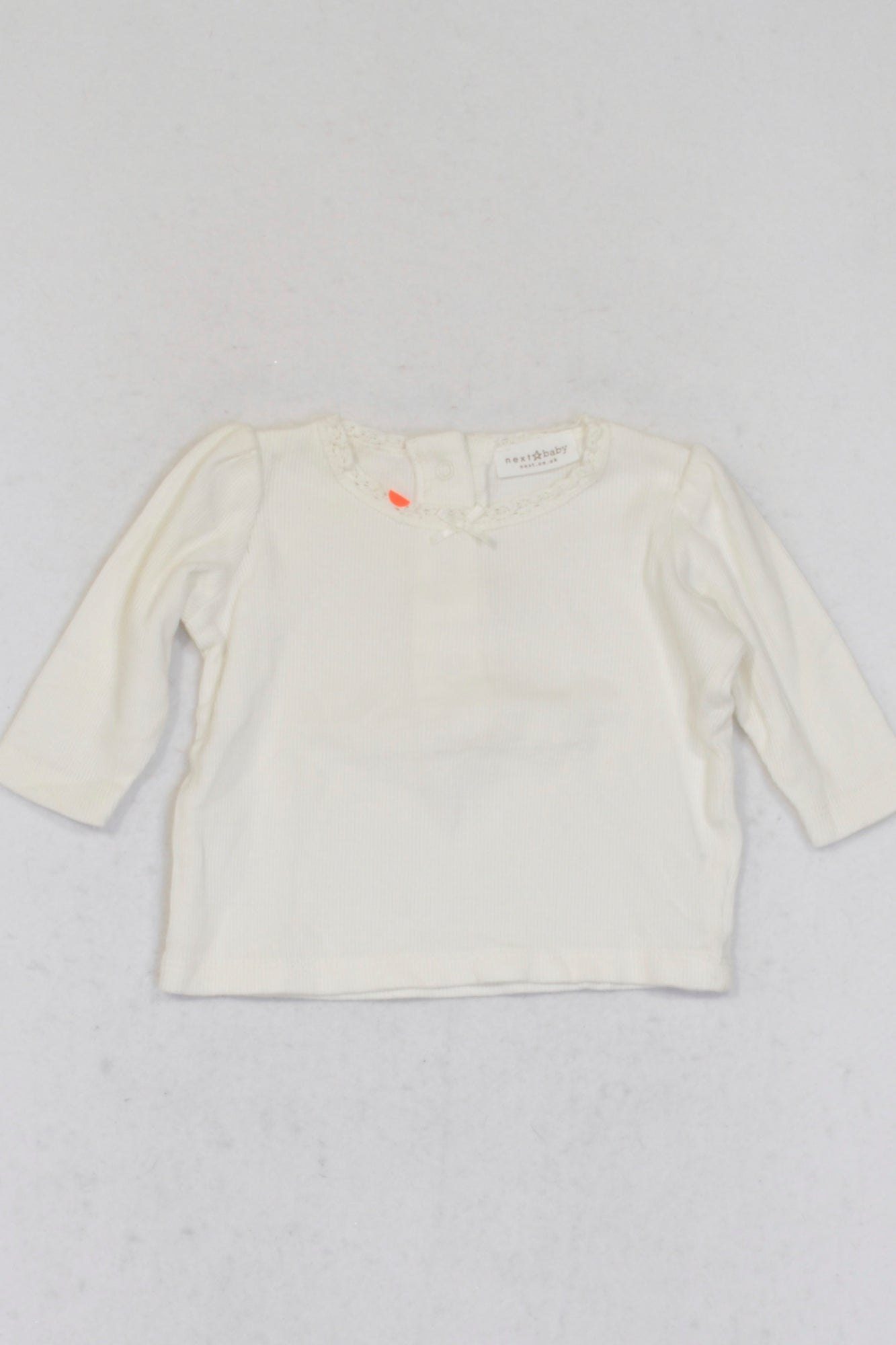 Next Off White Ribbed Long Sleeve Top Girls 0-3 months
