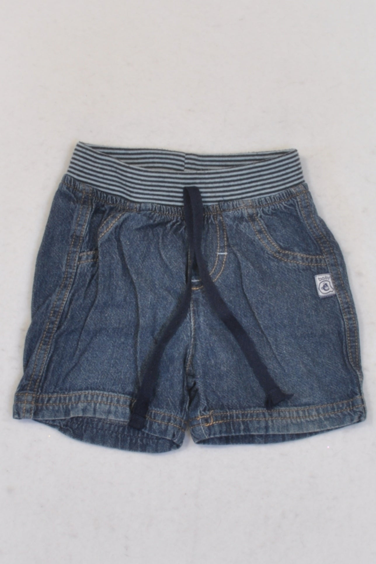 Ackermans Blue Denim Banded Shorts Boys 3-6 months