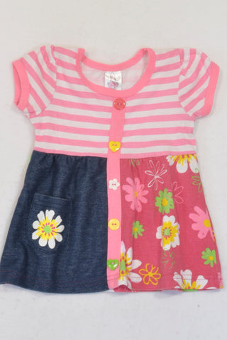 Jet Striped Pink Flower Dress Girls 6-12 months