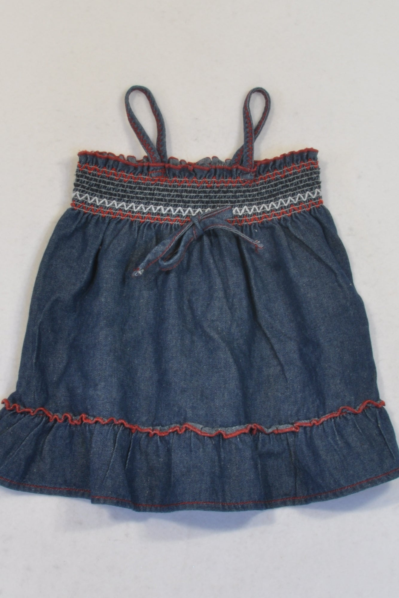 Ackermans  Gathered Bodice Denim Strap Dress Girls 3-6 months