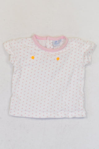 Disney  White And Light Pink Polkadot  T-shirt Girls 3-6 months