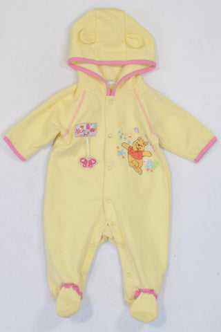 Disney  Yellow Winnie The Pooh Hooded Onesie Girls 3-6 months