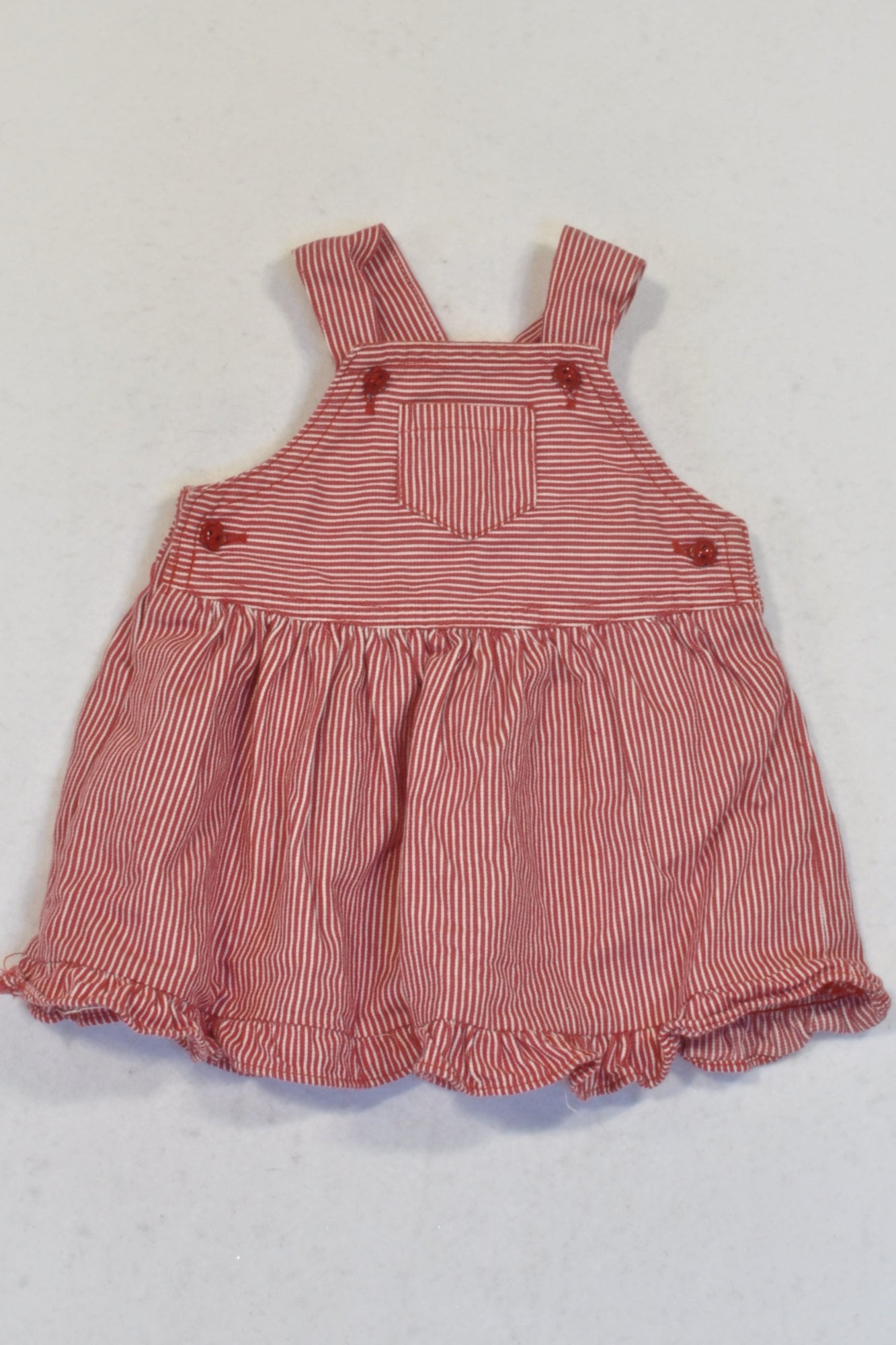 Ackermans White And Red Striped Ruffle Trim Dungaree Dress Girls 3 6