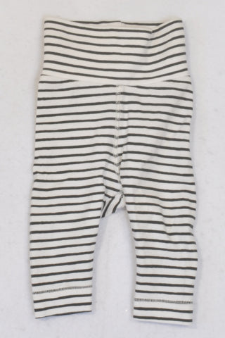 H&M Banded Black & White Striped Leggings Unisex 0-3 months