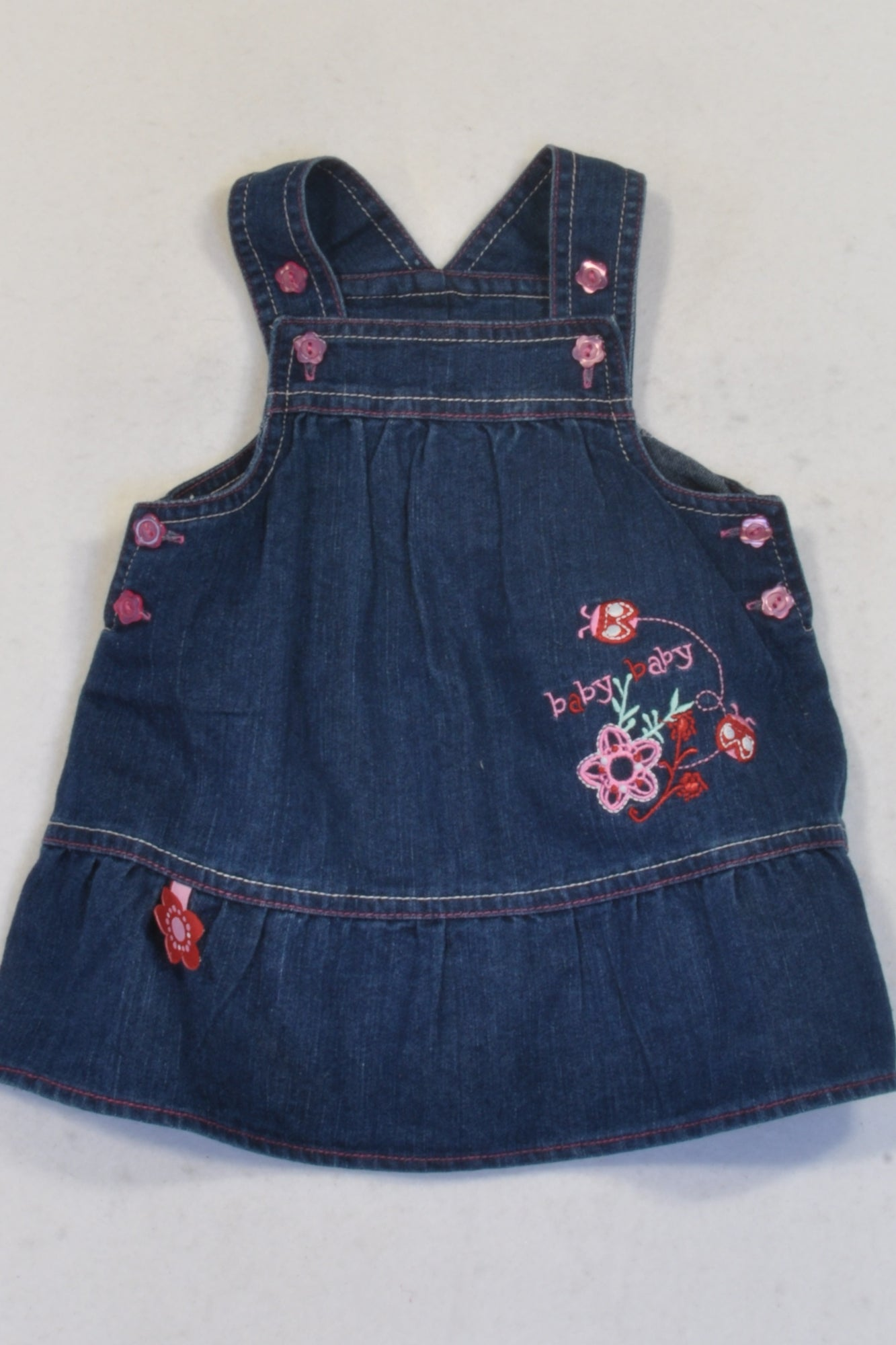 Ackermans  Pink Detail Ladybird Denim Dungaree  Dress Girls 0-3 months
