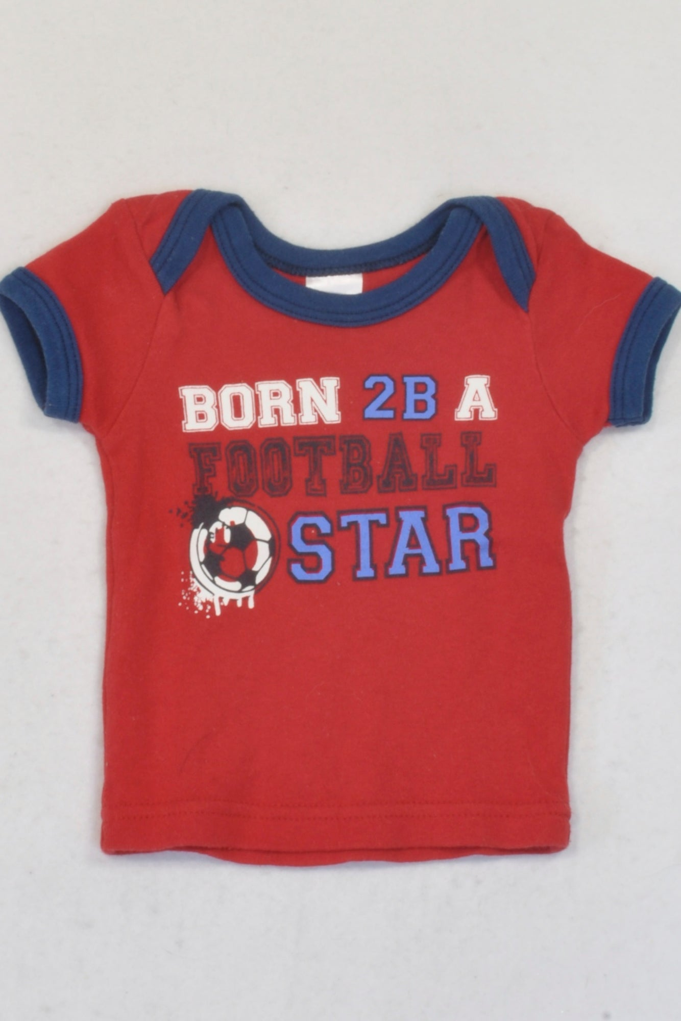 Edgars Red Born To Be A Football Star T-shirt Boys 3-6 months