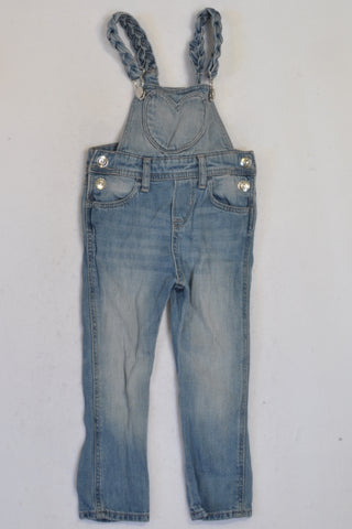 H&M Plait Denim Heart Skinny Dungarees Girls 18-24 months