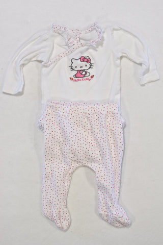 Woolies White Hello Kitty Outfit Girls 0-3 months