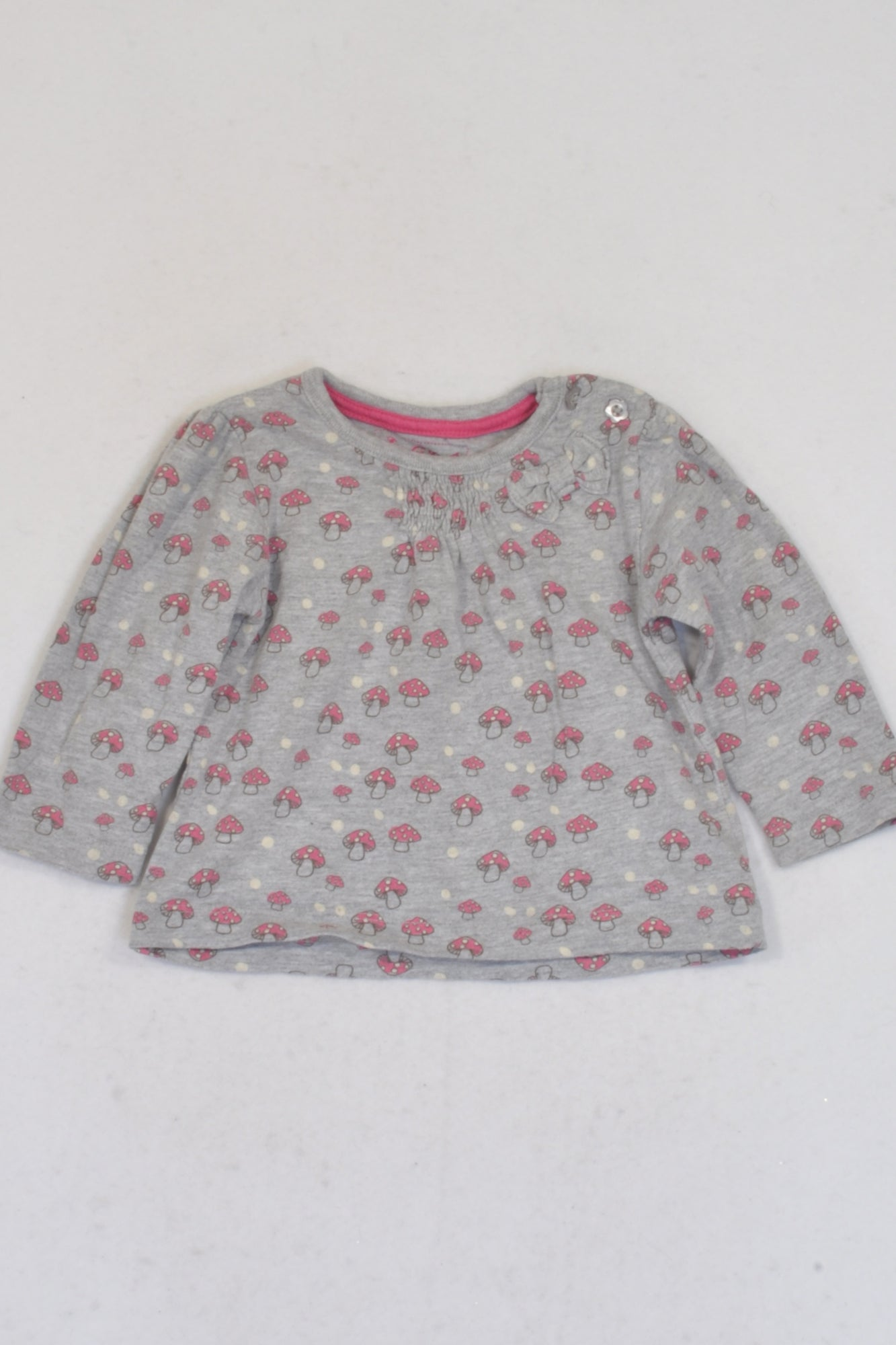 Early Days Grey And Pink Trim Mushroom Print  Top Girls 3-6 months