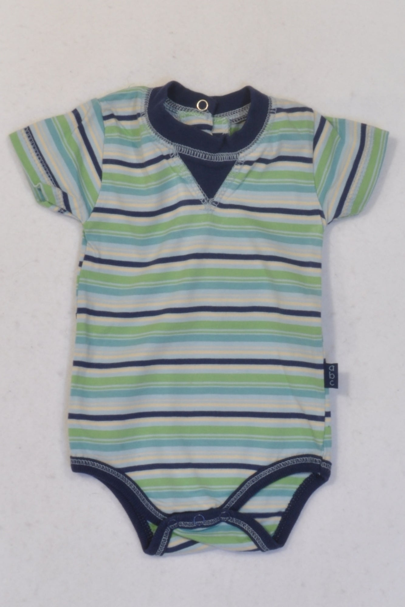 Ackermans Navy & Green Stripe Baby Grow Boys 3-6 months