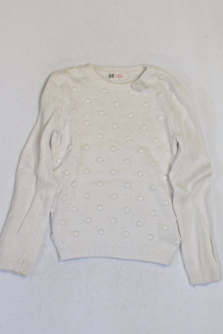 H&M White Bobble Knit Jersey Girls 4-5 years