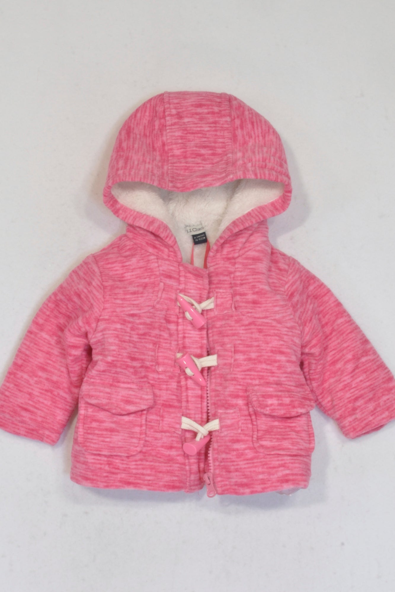 New B.J. Charles Pink Faux Fur & Fleece Hooded Toggle Coat Girls 0-3 months