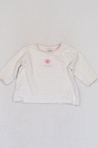 Next White With Light Pink Polka Dots T-shirt Girls N-B