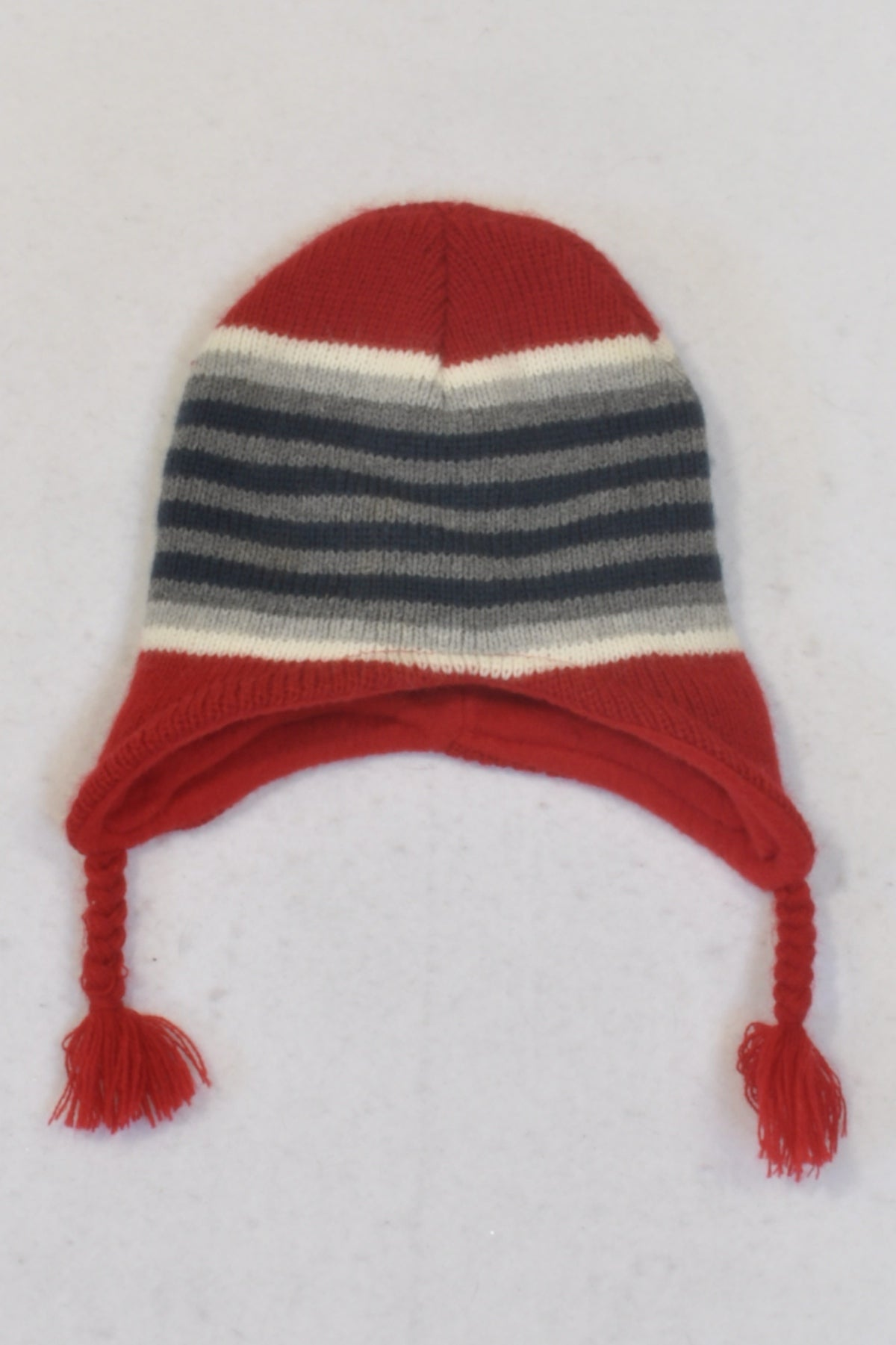 Ackermans Striped Red Toggle Beanie Girls 4-5 years