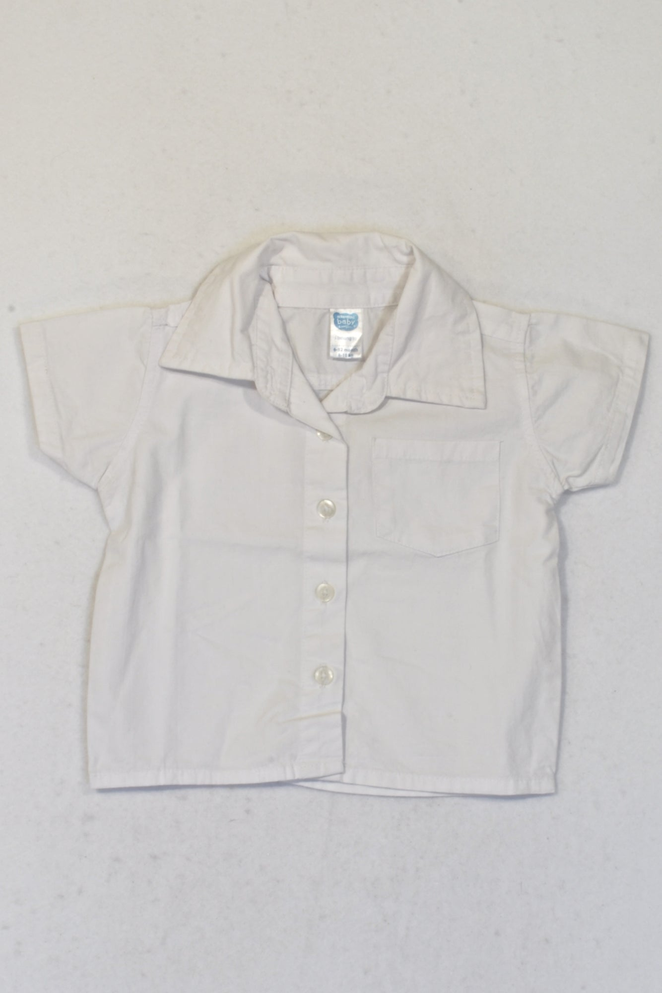 Ackermans White Short Sleeve Collared Shirt Boys 6-12 months