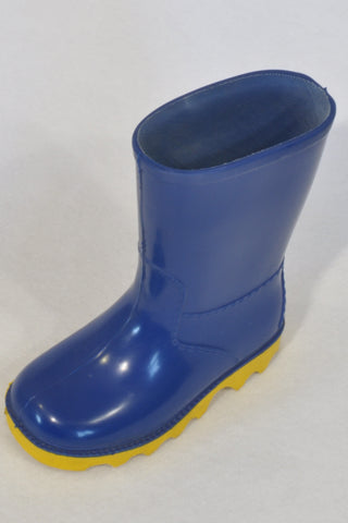 Neptune Blue & Yellow Size 6 Gum Boots Unisex 2-3 years