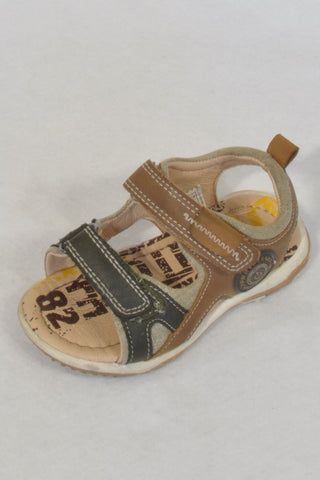 Uauh! Olive & Brown Size 6 Velcro Strap Sandals Boys 2-3 years