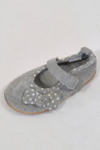 TipToes Grey Bow Velcro Size 3 Shoes Girls 9-12 months