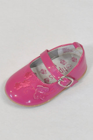 TipToes Cerise Pink Butterfly Buckle Size 2 Shoes Girls 6-9 months
