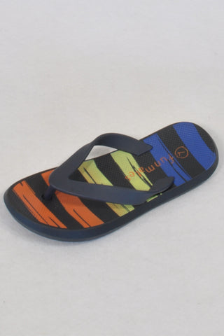 New Woolworths Colour Banded Black Size 7 Flip Flops Boys 2-3 years