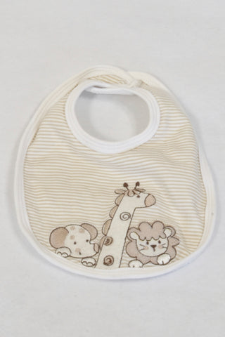 New Little Me Beige & White Stripe Safari Animal Bib Unisex 3-6 months